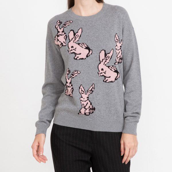 Pulover femei cu imprimeu iepuri