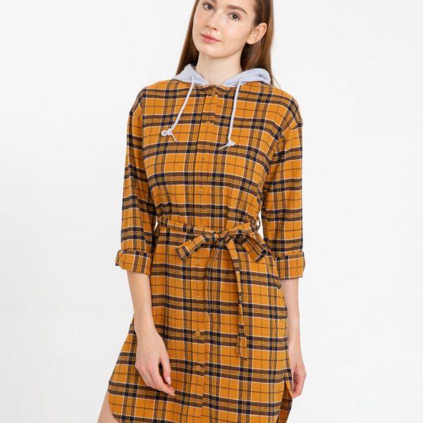 Rochie cămașă cu carouri cu glugă