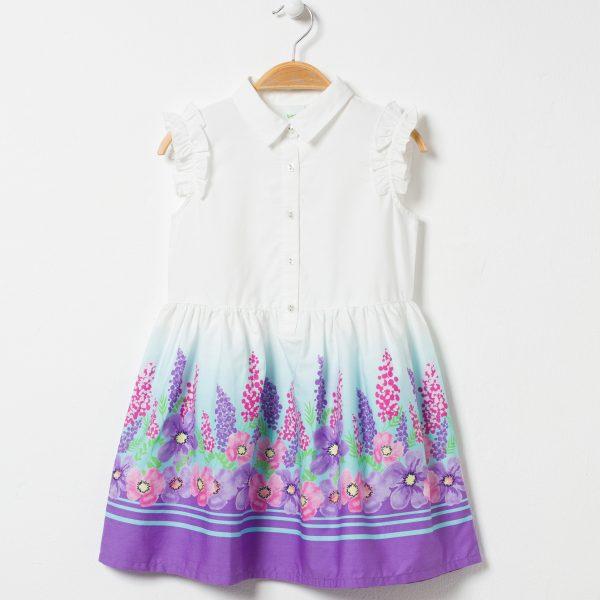 Rochie cu maneca scurta si imprimeu
